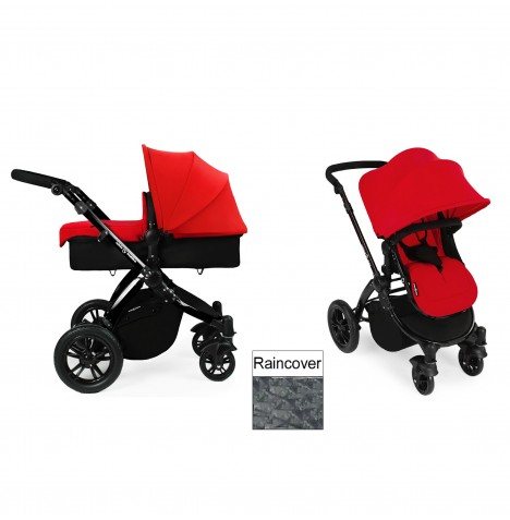 Ickle Bubba Stomp V2 Black 2 in 1 Pushchair - Red