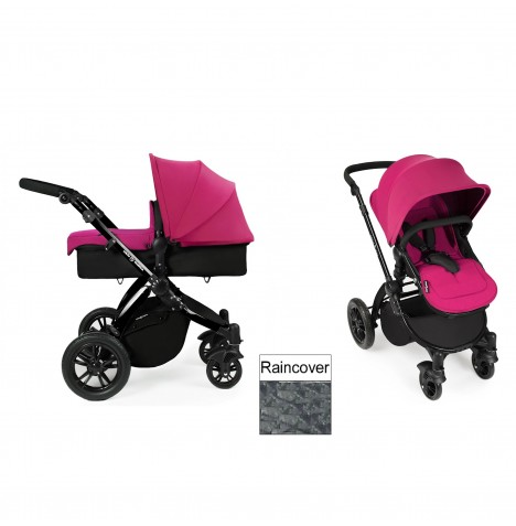 Ickle Bubba Stomp V2 Black 2 in 1 Pushchair - Pink