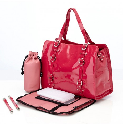 OiOi Patent Leather Tote Changing Bag - Rose