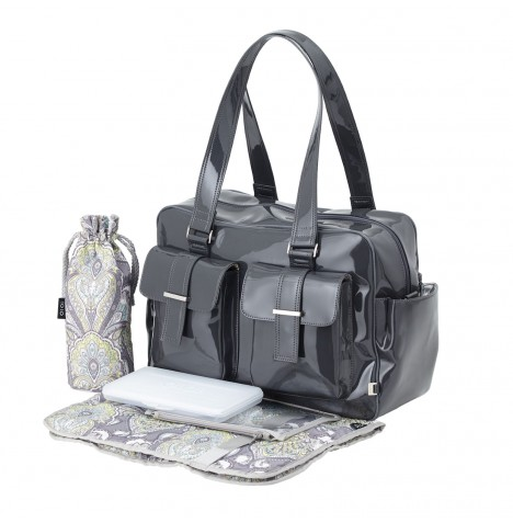 OiOi Patent Leather Carryall Baby Changing Bag - Gunmetal Baroque