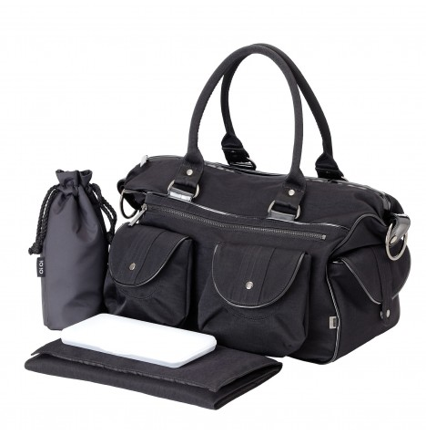 OiOi  Wash Nylon Carryall Baby Changing Bag - Black / Patent Trim