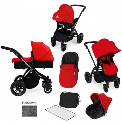 ickle bubba Stomp V2 Black All In One Travel System - Red