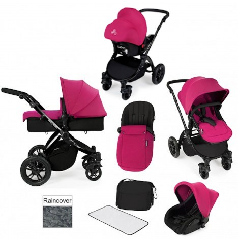 ickle bubba Stomp V2 Black All In One Travel System - Pink
