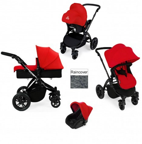 ickle bubba Stomp V2 Black 3 in 1 Travel System - Red