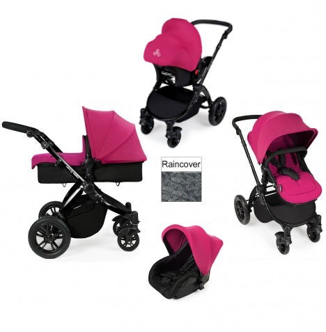 ickle bubba Stomp V2 Black 3 in 1 Travel System - Pink