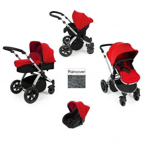 ickle bubba Stomp V2 Silver 3 in 1 Travel System - Red