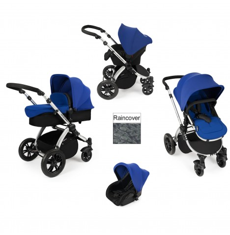 ickle bubba Stomp V2 Silver 3 in 1 Travel System - Blue