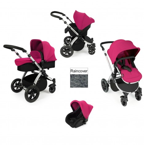ickle bubba Stomp V2 Silver 3 in 1 Travel System - Pink
