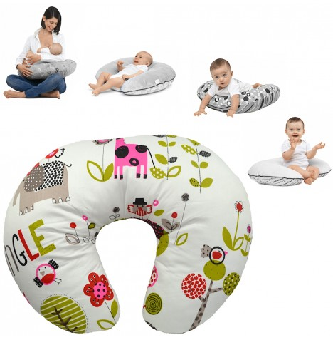 4Baby 4 in 1 Nursing / Pregnancy Pillow / Cushion - Jungle Pink