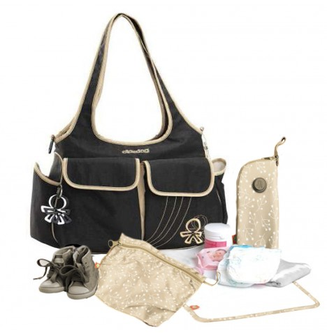 Okiedog Sassy luxury  Tote Changing Bag - Black/Croissant