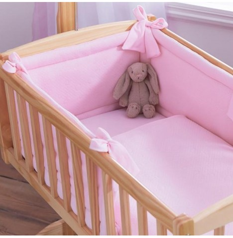 Clair De Lune Rocking Crib 2 Piece Quilt & Bumper Set - Cotton Candy Pink