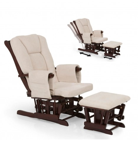 Hauck Glider Deluxe Recline Nursing Chair & Stool - Walnut / Beige