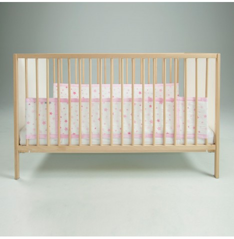 Airwrap 2 Sided Cot / Cot Bed Bumper - Pink Stars