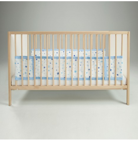Airwrap 2 Sided Cot / Cot Bed Bumper - Blue Stars