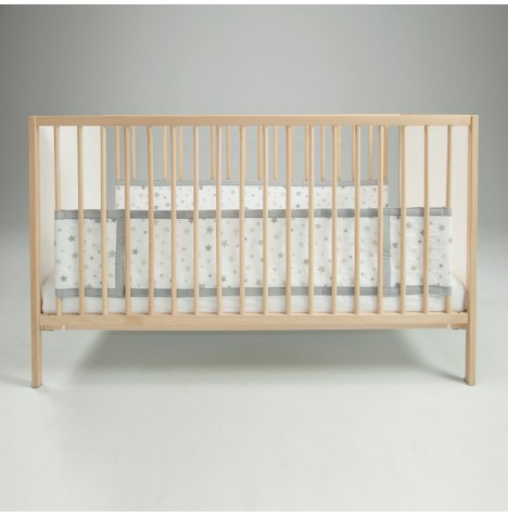 Airwrap 2 Sided Cot / Cot Bed Bumper - Silver Stars