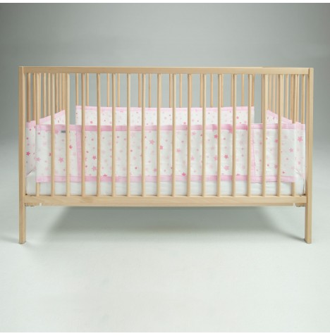 Airwrap 4 Sided Cot / Cot Bed Bumper - Pink Stars