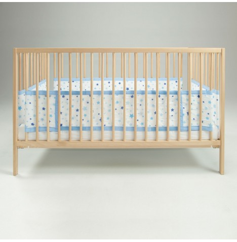 Airwrap 4 Sided Cot / Cot Bed Bumper - Blue Stars