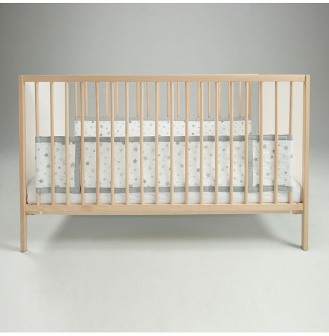 Airwrap 4 Sided Cot / Cot Bed Bumper - Silver Stars