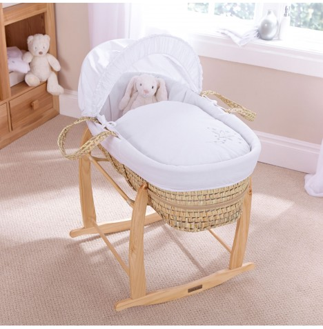 Clair De Lune Palm Moses Basket With Natural Rocking Stand - Starburst White