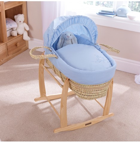 Clair De Lune Palm Moses Basket With Natural Rocking Stand - Starburst Blue