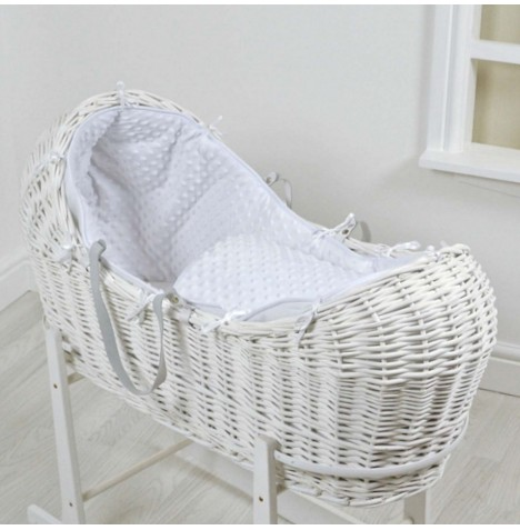 4baby White Wicker Snooze Pod - White Dimple