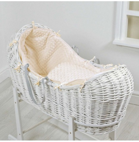 4baby White Wicker Snooze Pod - Cream Dimple