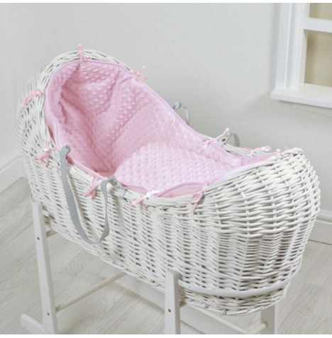 4baby White Wicker Snooze Pod - Pink Dimple