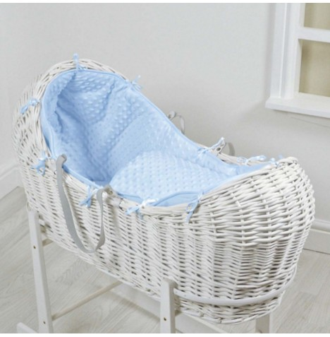 4baby White Wicker Snooze Pod - Blue Dimple