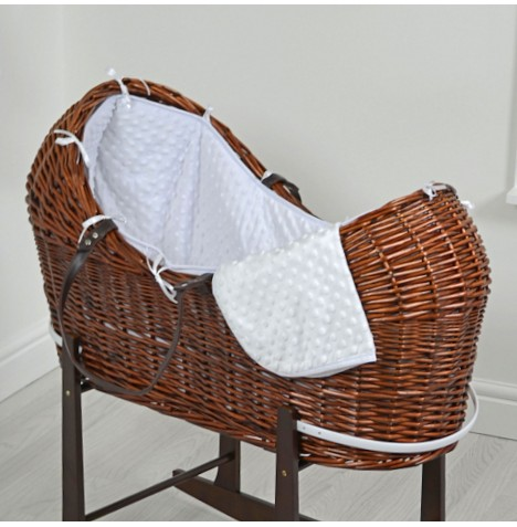 4baby Dark Wicker Snooze Pod - White Dimple