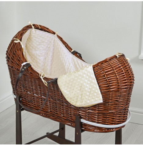 4baby Dark Wicker Snooze Pod - Cream Dimple