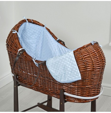 4baby Dark Wicker Snooze Pod - Blue Dimple