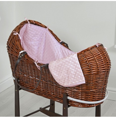 4baby Dark Wicker Snooze Pod - Pink Dimple
