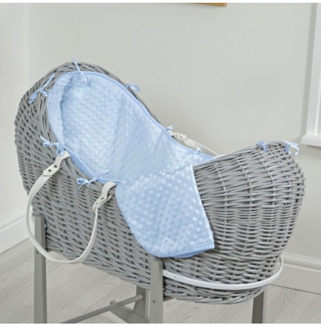 4baby Grey Wicker Snooze Pod - Blue Dimple