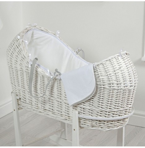 4baby White Wicker Snooze Pod - White Waffle