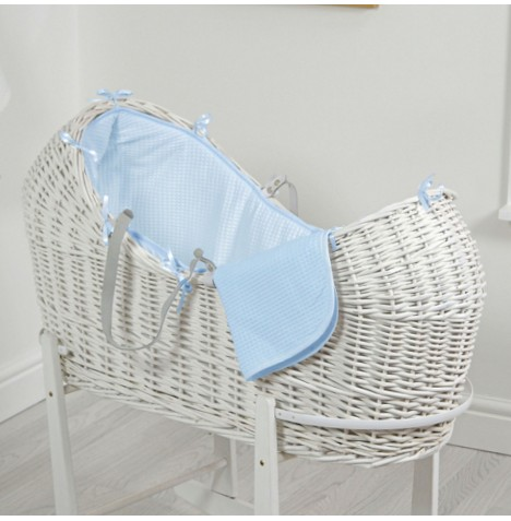 4baby White Wicker Snooze Pod - Waffle Blue