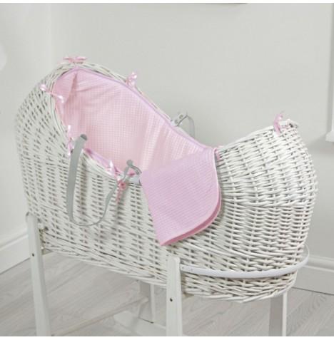 4baby White Wicker Snooze Pod - Pink Waffle
