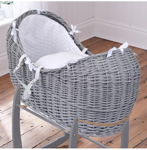Clair De Lune Grey Wicker Noah Pod - Marshmallow White