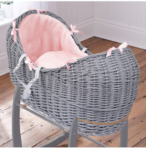 Clair De Lune Grey Wicker Noah Pod - Honeycomb Pink