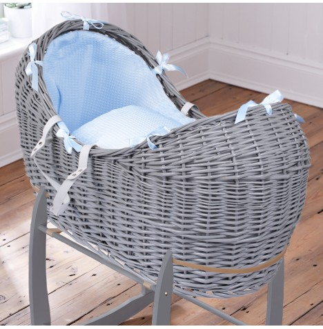 Clair De Lune Grey Wicker Noah Pod - Waffle Blue
