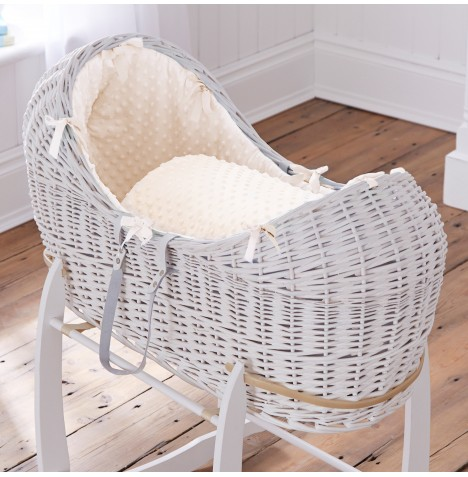 Clair De Lune White Wicker Noah Pod - Dimple Cream