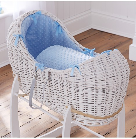 Clair De Lune White Wicker Noah Pod - Dimple Blue
