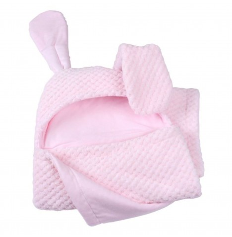 Clair De Lune Bunny Ears Hooded Blanket - Honeycomb Pink
