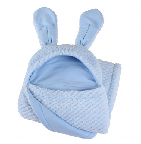 Clair De Lune Bunny Ears Hooded Blanket - Honeycomb Blue