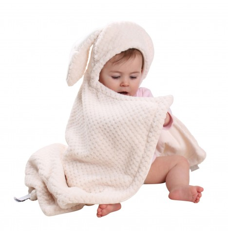Clair De Lune Bunny Ears Hooded Blanket - Honeycomb Cream