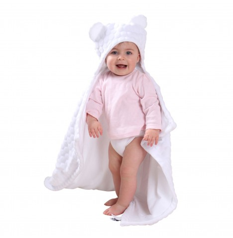 Clair De Lune Teddy Bear Ears Hooded Blanket - Marshmallow White