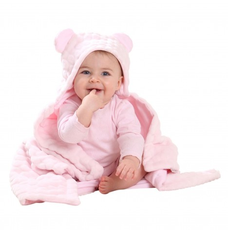 Clair De Lune Teddy Bear Ears Hooded Blanket - Marshmallow Pink
