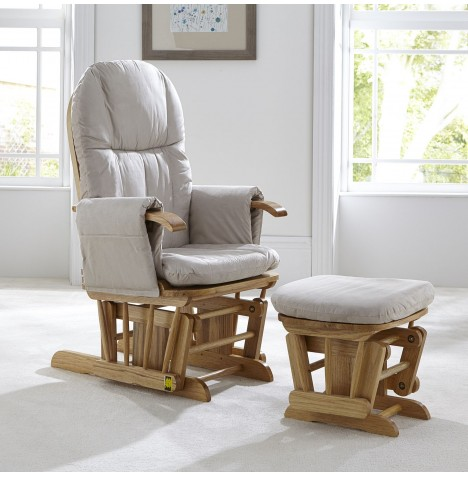 Tutti Bambini GC35 Reclining Glider Nursing Chair & Stool - Natural