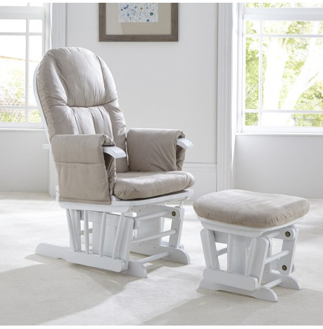 Tutti Bambini GC35 Reclining Glider Nursing Chair & Stool - White
