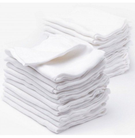 4baby Cotton Muslin Squares (12 Pack) - White