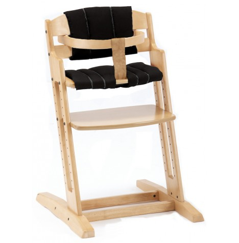 Babydan Danchair Wooden Highchair - Natural With Black Cushion